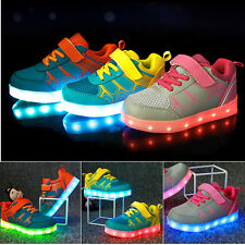 KIDS Boys Girls USB Charging LED Light up Kids Shoes Trainers Casual Sneaker