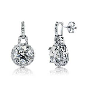 BERRICLE Sterling Silver Round Cubic Zirconia CZ Halo Stud Earrings