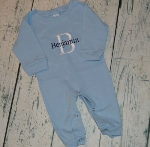 Monogrammed Baby Blue Baby boy Sleeper Romper size 0-3 Months