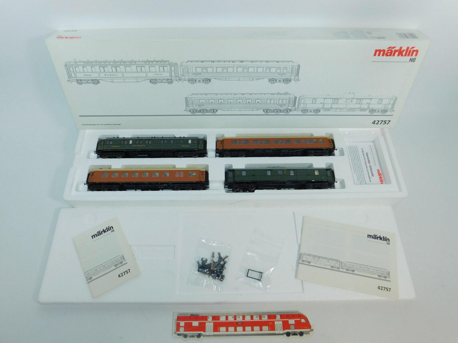 Märklin aw531-3  h0 ac 42757 Set treno rapido carro d'oro Zwanziger NEM KK, OVP