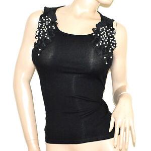 CANOTTA-NERA-donna-top-maglietta-pizzo-ricamo-perle-cotone-elastico-elegante-G16