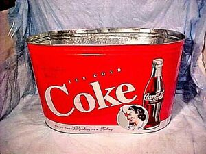 Coca Cola - Drink tub Large Metal Tin Coca Cola Party Tub Oval Soda Drink Holder