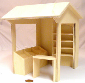 112 scale 4 piece flat pack wooden market stall kit set dolls house image is loading 1 12 scale 4 piece flat pack wooden publicscrutiny Choice Image