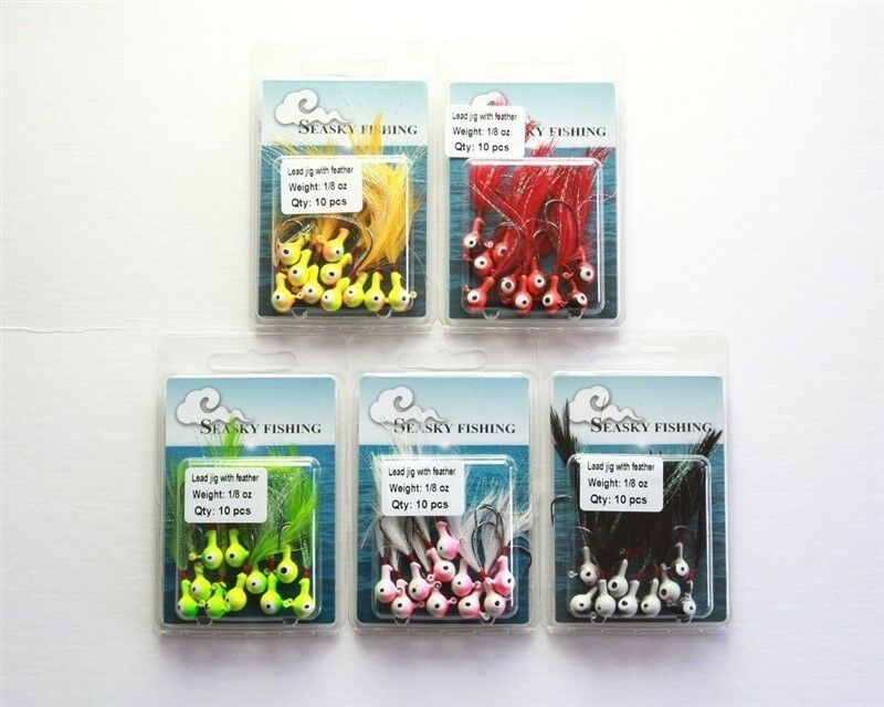 50 1 8oz NEW Feather Crappie Jigs Fishing Lures Hooks 5 colors Lot