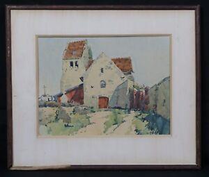 Church-Romanesque-Watercolour-Postimpressionniste-French-Landscape-Paesaggio