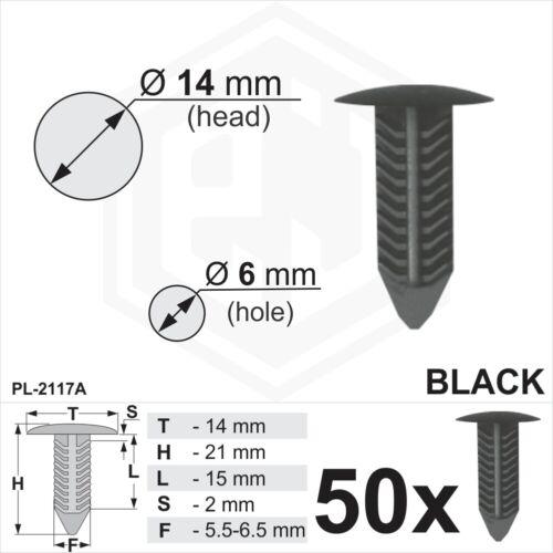 50 x Black Plastic Fir Tree Trim Clips 6mm Hole 14mm Head Car Van Push In Button