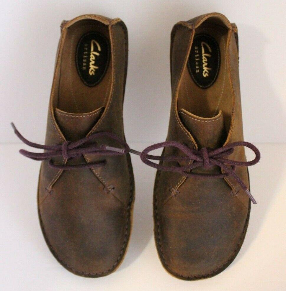 Clarks Artisan, cuero marrón, Oxford talla 6,5, cordones púrpura.