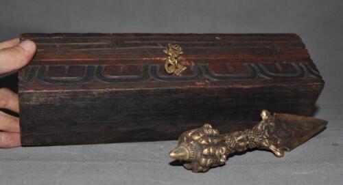 Old Tibet Wood Bronze Mahakala Wrathful Buddha Dorje Vajra Phurba Dagger Box set
