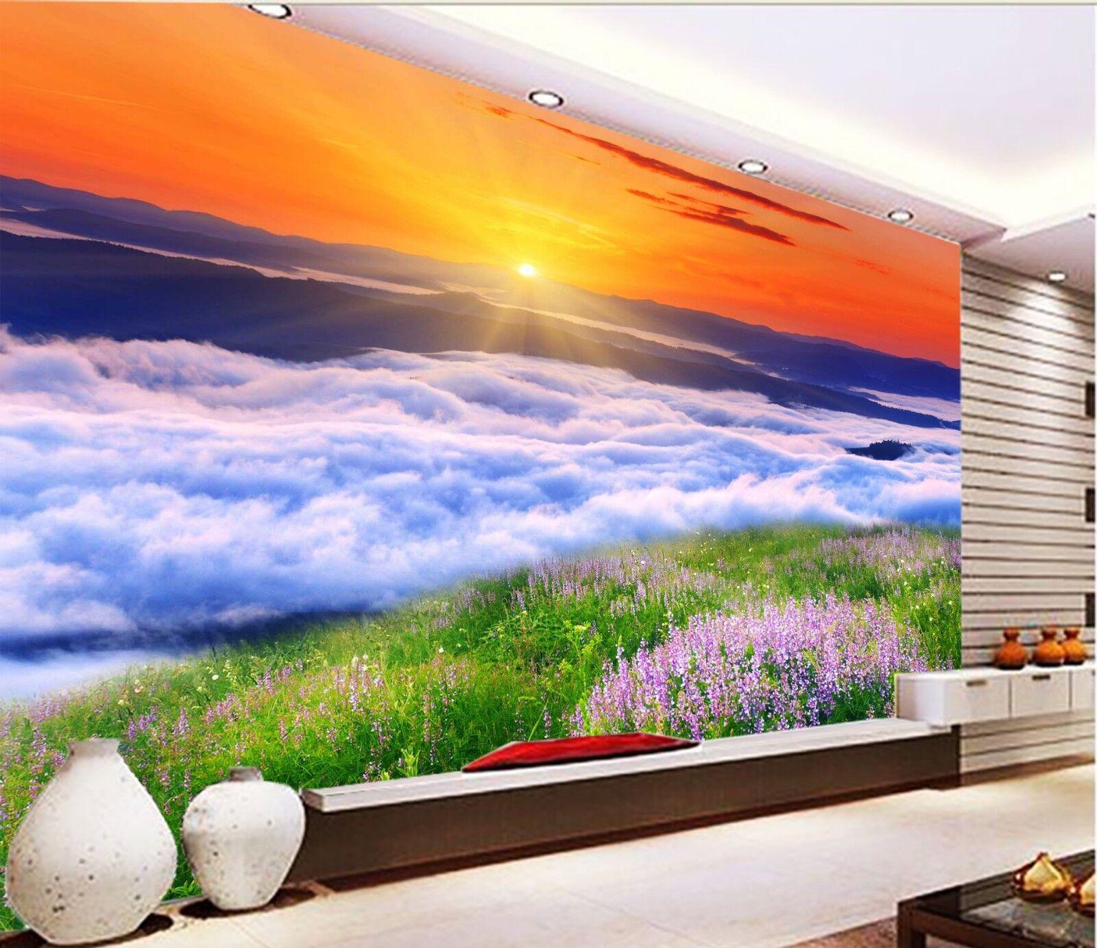 3D Lawn Clouds Sun 716 Wallpaper Mural Wall Print Wall Wallpaper Murals US Lemon