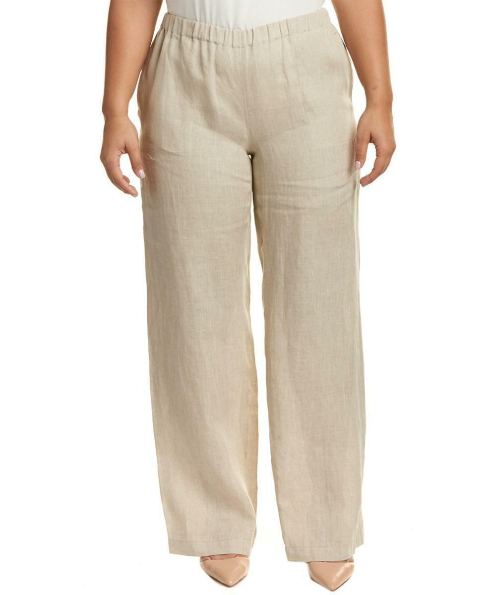 MARINA SPORT by MARINA RINALDI Beige 100% FLAX LINEN Pants Trousers US-16 IT-54