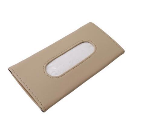 Car Sun Visor Tissue Box PU Leather Auto Accessories Holder Paper Napkin Clip CO