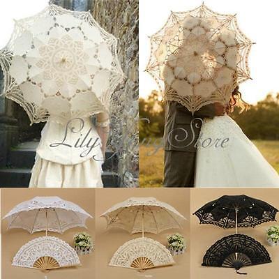 Retro Style Lace Handmade Hand Fan Parasol Umbrella Wedding Bridal Party 3 Color