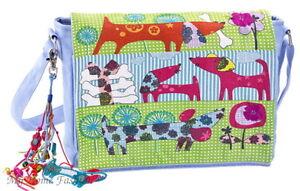 Canvastasche-Maedchen-Umhaengetasche-Kinder-Tasche-blau-gruen-rosa-pink-Motiv-Hunde