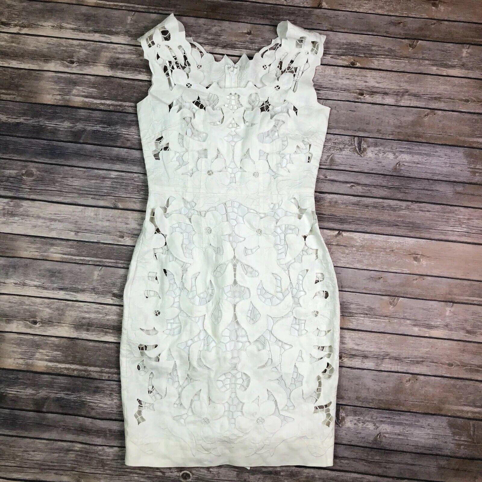 350 Betsey Johnson Women's 4 Ivory 100% Linen Lace Overlay Floral Sheath Dress