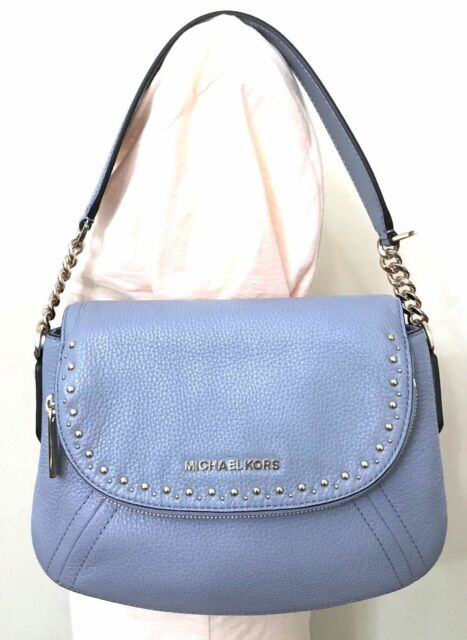 b10636076be184 Michael Michael Kors Aria Studded Convertible Pale Blue Leather Shoulder Bag