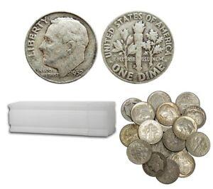 Roosevelt-90-Silver-Dimes-100-Coins-10-Face-Value-Avg-Circ