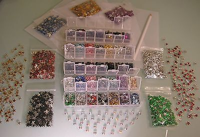 XL HOTFIX BASTEL-SET STRASSSTEINE NAILHEADS STERNE METALL STUDS STRASS-STIFT 3MM