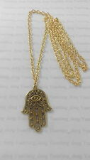 "A Lucky Evil Eye, Hamsa Hand Tibetan Glod Charm 41mmx27mm Long 30""Chain Necklace"