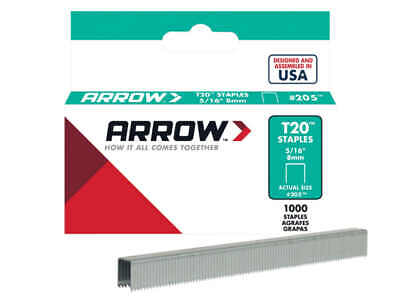 8mm Staples Pack of 1000 Arrow T20 5//16/""