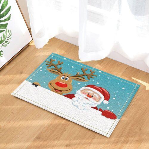 Santa and Reindeer Floor Rug Carpet Mat Bathroom Home Non-slip Pad Door 40x60cm
