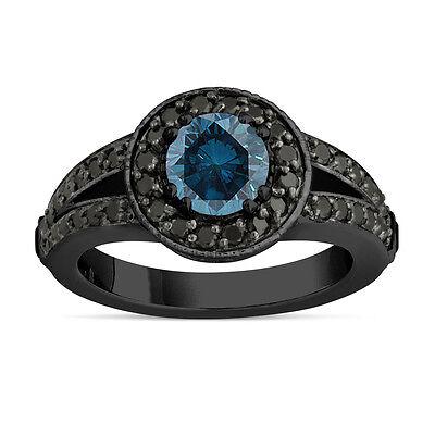 Enhanced Fancy Blue Diamond Engagement Ring 14k Black Gold Vintage Style 1 56ct Ebay