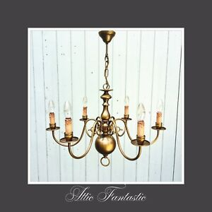 Vintage Antique Brass 6 Branch Light Chandelier With Faux Candle Covers Ses Lamp Ebay