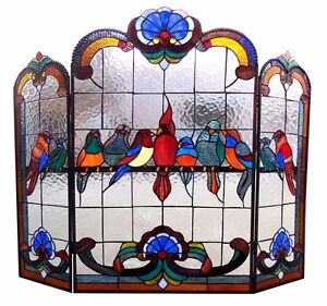 Royal Birds Stained Glass Fireplace Screen Cardinal Finch Parrot