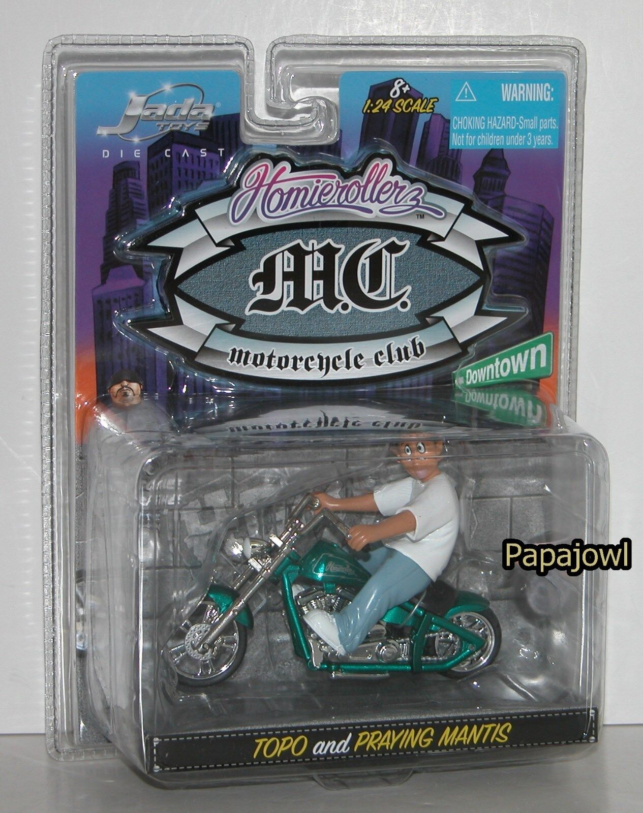 2005 Jada Homie Rollerz MC Motorcycle Club TOPO and Praying Mantis 1/24
