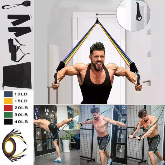 11Pcs Heavy Resistance Bands Home Gym Fitness Training Tubes W// Door Anchor UK