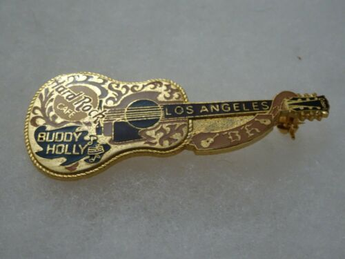 Hard Rock Cafe Pin Los Angeles Dead rocker Series Buddy Holly Guitar with name