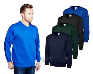 Uneek-Premium-V-Neck-Sweatshirt-300gsm-Mens-Sweater-Polycotton-Jumper-UC204