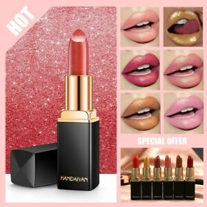 1 PC Sexy Matte Nude Lipstick Metallic Lip Gloss Diamond