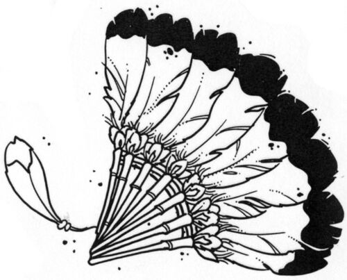 Southwest Stamps Feathered Fan Feathers Unmounted Rubber Stamps Southwestern