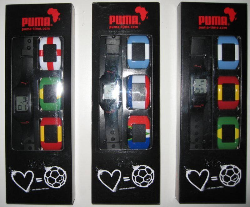 Set of 3 x World Cup PUMA Digital Watches Exchangeable Flags of Countries