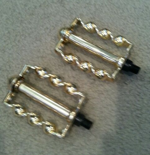 """BEACH CRUISER BICYCLES GOLD FLAT  TWISTED BICYCLE PEDALS 1//2/"""" LOWRIDER"""