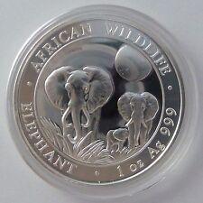 2014 Somalia Elephant 1 oz Troy Ounce .999 Silver Somalian Bullion Coin -