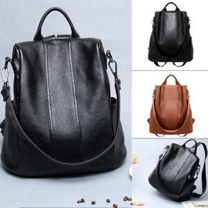 Rucksack-Women-Leather-Backpack-Handbag-US-Bag-Shoulder-School-Ladies-Anti-theft