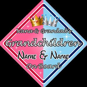 Nana /& Grandad/'s Grandchildren On Board Car Sign
