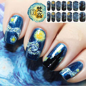 Fashion Nail Art Wraps Stickers Polish Diy Decal Decoration Blue Sky