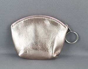 Rose-Gold-Pink-faux-leather-coin-change-zipper-purse-zip-top-keychain-4-5-034-wide