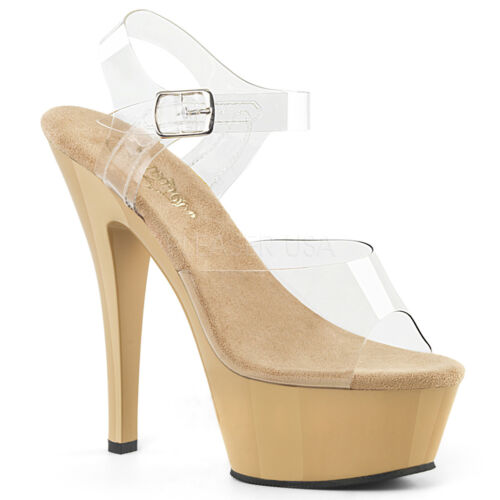 """6/"""" Nude Clear Platform Fitness Pageant Figure Model Heels Shoes Size 7 8 9 10 11"""