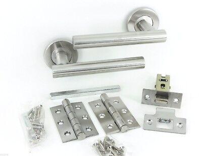 7 X Straight T Bar Modern Door Handle Pack Latch Set Satin Stainless Packs