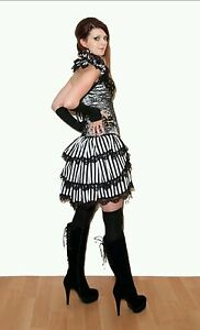 70aa736bd0 Black & White stripe bustle skirt. Lace. Burlesque. Steampunk. 8-10 ...