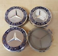 4x Blue Original Colour Fits MERCEDES BENZ 75mm ALLOY WHEEL BADGES CENTRE CAPS