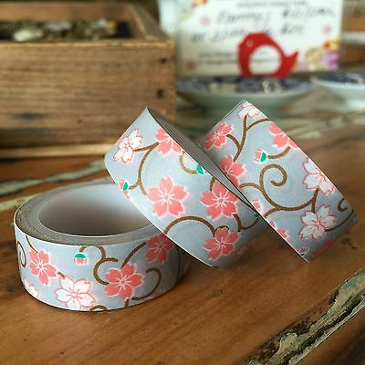WASHI TAPE SAKURA ON LAVENDER 15MM WIDE X 6MTR ROLL SCRAP PLAN CRAFT WRAP