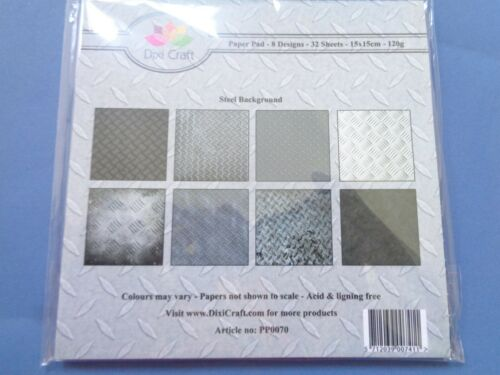 New Dixi Craft 15cm x 15cm Paper Pad Steel Background