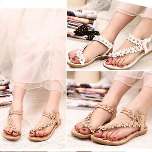 0fd123452d913 Summer Bohemia Sweet Beaded Women s Sandals Clip Toe Sandals Beach ...