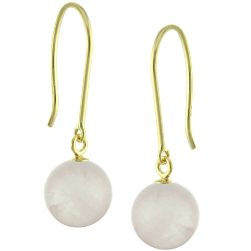 14k Solid White Ball Natural Gemstones Hook Earrings Yellow Gold 8mm Round