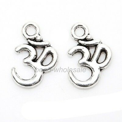 New 100pcs Antique Silver/Golden/Bronze ohm om Yoga Sign Buddha Charms Pendants
