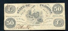 1861 $50 FIFTY DOLLARS STATE OF FLORIDA TALLAHASSEE, FL OBSOLETE BANKNOTE